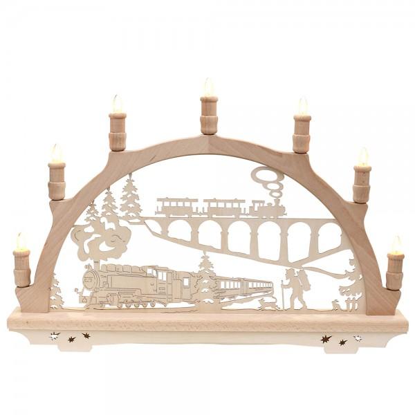 Holz Schwibbogen Eisenbahn Made in Germany (mit Laserfuß) 57 x 6 x 38 cm 230 V Kabel, 7 flammig, SPK