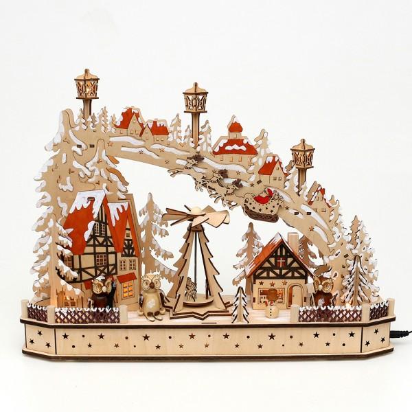 Holz Schwibbogen Weihnachtsabend mit drehender Pyramide & Eulenfiguren (Rückseite verziert) (Laserholz) 45 x 11 x 33 cm Batteriebetrieb AA, inkl. Adapter 4,5 V, LED, Bewegung, Sound