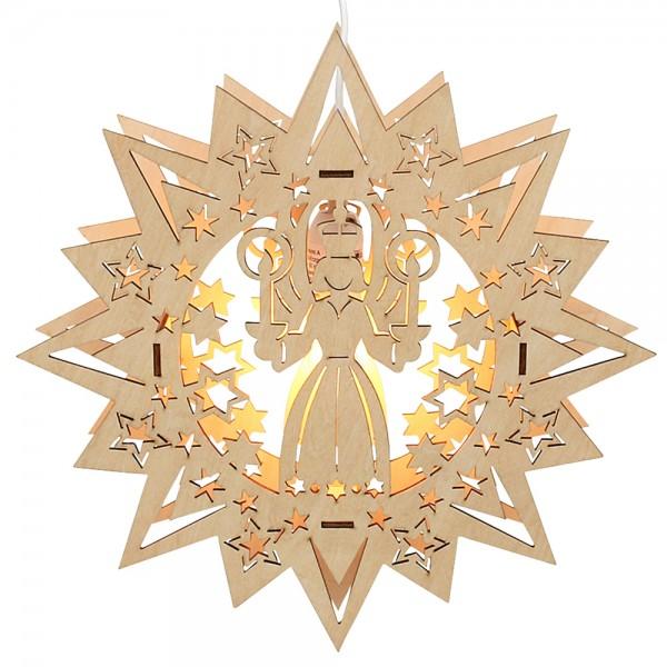 Holz Fensterbildstern Engel (Laserholz) 31 x 5 x 31 cm 230 V Kabel, E14