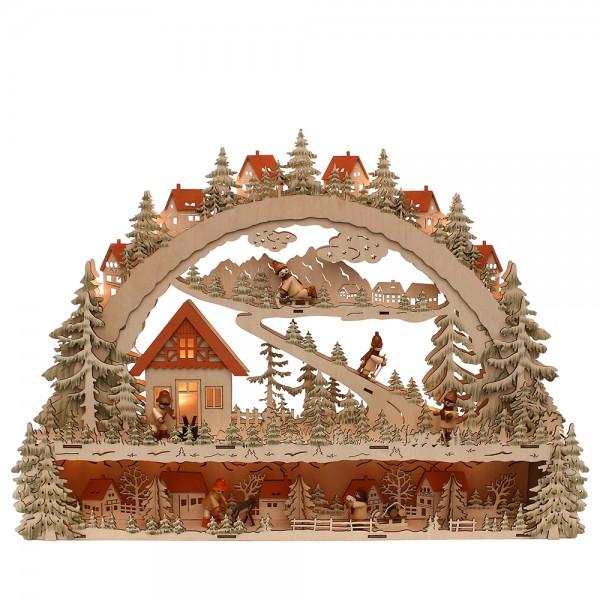 Holz Schwibbogen mit Bank Waldmotiv mit Winterfiguren (Laserholz) 63 x 9 x 45 cm Batteriebetrieb AA, inkl. Adapter 4,5 V, LED, XL