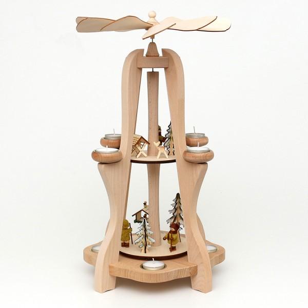 Holz Tischpyramide, hochwertig, Moosma & Moosfra für 8 Teelichte (Buchenholz) 28,5 x 28,5 x 50 cm