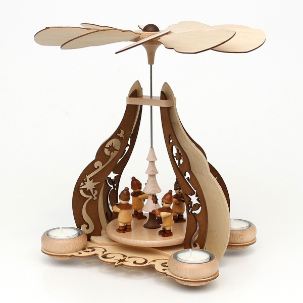 Holz Pyramide Kurrende natur/braun, edel verziert, für 4 Teelichte 24 x 20 x 30 cm