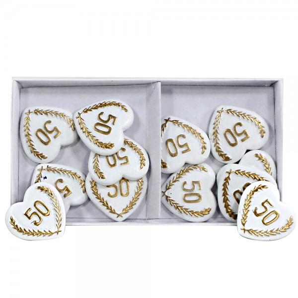 12er Set Polyresin Herzen-Aufleger Goldene Hochzeit mit goldener 50 zur Deko, flach 2,8 x 3 x 0,5 cm