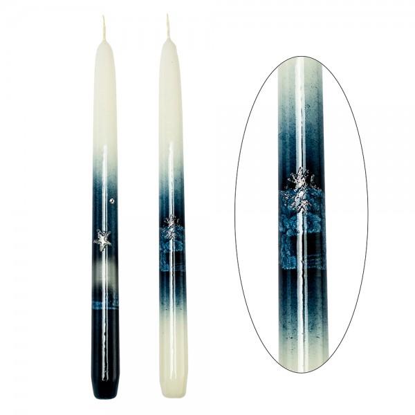 Leuchterkerzen Weihnachtsglanz topasblau 2-fach sort. 2,2 x 2,2 x 29 cm im Set