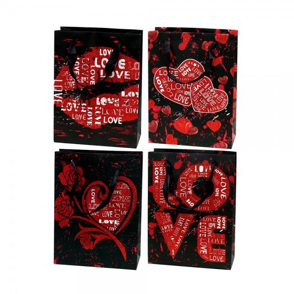 Papier Tragetasche LOVE mit Glitter 4-fach sort. 18 x 8 x 24 cm im Set