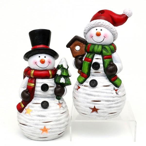 Keramik Windlicht Schneemann mit Mütze und Hut 2-fach sort. 11,5 x 10,5 x 20,5 cm im Set