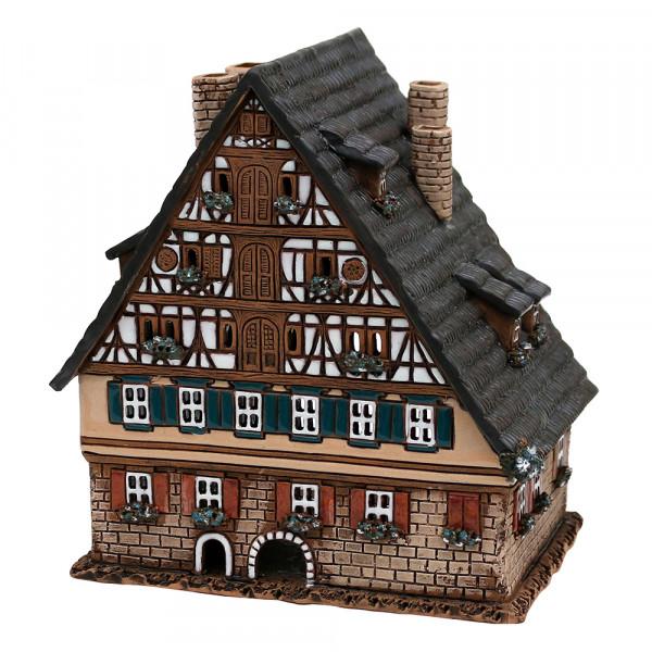 Keramik Licht-Duftölhaus (in Schornstein) Fachwerkhaus 16 x 12,5 x 17,5 cm