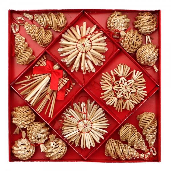 28er Set Stroh-Baumanhänger klein & groß mit rotem Faden zum Anhängen, natur 6-fach sort. 6 x 1 x 6 cm im Set