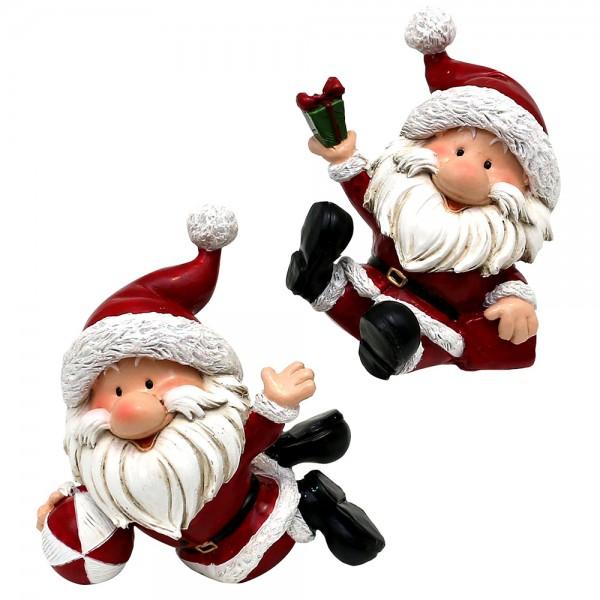 Polyresin Weihnachtsmann Figuren sitzend mit Geschenken 2-fach sort. 10 x 10 x 10 cm im Set