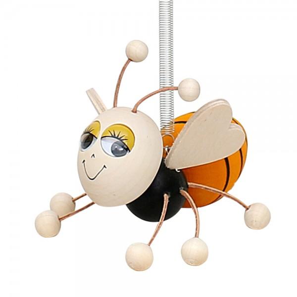 Holz Figur Biene mit Sprungfeder 7 x 14 x 9 cm