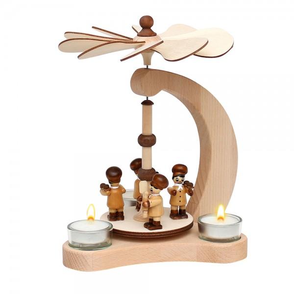 Holz Tischpyramide Bäckerfiguren für 3 Teelichte (Buchenholz) 14 x 18 x 24 cm