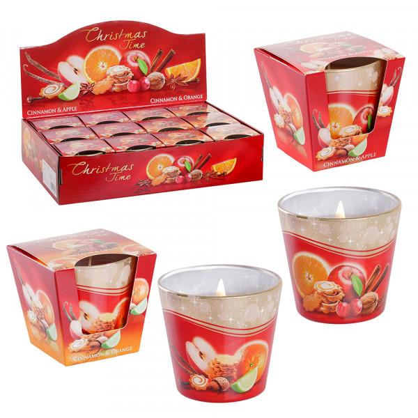Weihn.-Duftglas Christmas Time XL mit Cinnamon/Apple & Cinnamon/Orange (GLX-CT/D-12) 9 x 9 x 8,5 cm XL