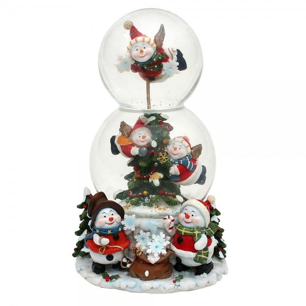 Polyresin Doppel-Schneekugel Schneemann 12,5 x 12,5 x 20,5 cm Ø 10 cm Spielwerk White Christmas