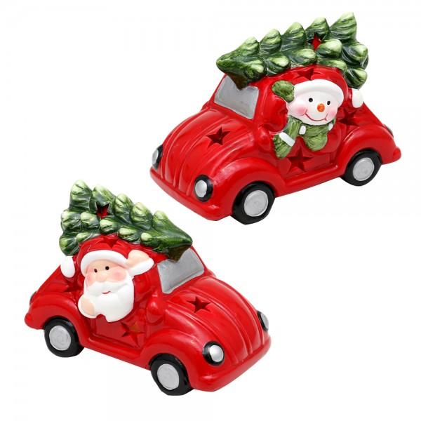Keramik Auto Weihnachtsmann / Schneemann mit Tannenbaum auf dem Dach 2-fach sort. 11 x 7 x 7,5 cm LED im Set