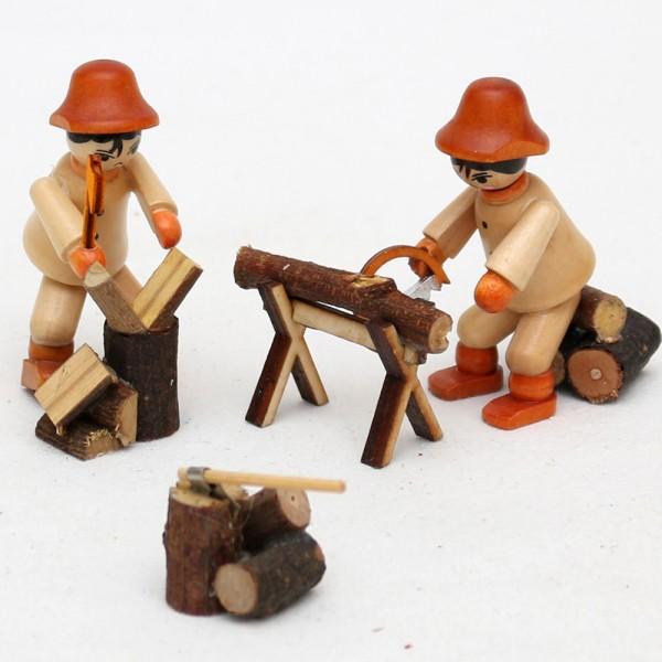 2er Set Holz Figur Holzarbeiter mit Säge / Hacke 1 x 1 x 5,5 cm