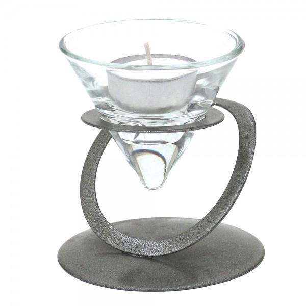 Metall Kerzenhalter silber glänzend, mit Doppelkreis 9 x 9 x 9,5 cm