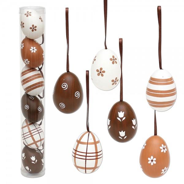 6er Set Plastik Eier Kaffee in Röhre mit Anhänger, Motive 6-fach sort. 3 x 3 x 6 cm im Set