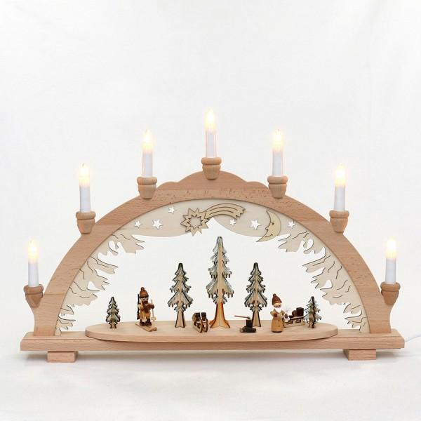 Holz Schwibbogen Wald mit Jäger & Weihnachtsmann (Premiumholz) 57 x 9 x 38 cm 230 V Kabel, 7 flammig, SPK