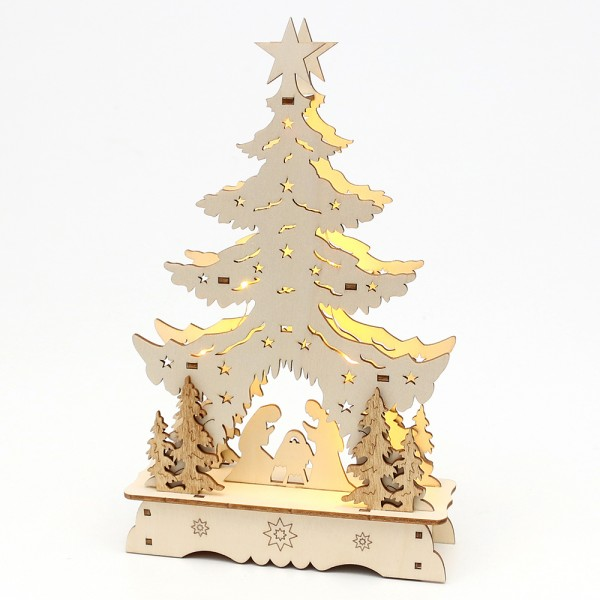 Holz Laserbaum Heilige Familie 14,5 x 4 x 24 cm Batteriebetrieb AAA, LED