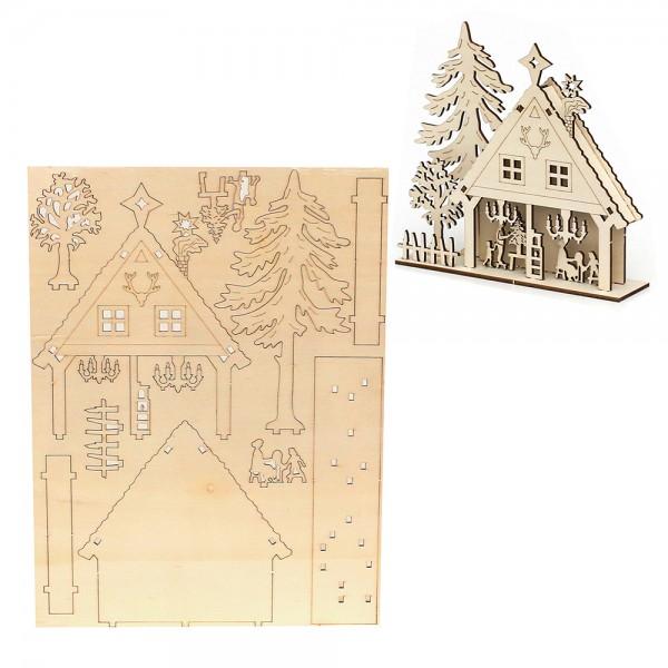 Holz Bausatz Laser-Haus (17 x 4 x 16 cm) zum Selbstbauen 22,5 x 0,3 x 30 cm