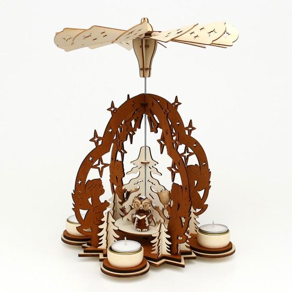 Holz Teelichtpyramide Sterntaler braun/natur, mit Eulenfiguren (Laserholz) für 4 Teelichte 23 x 23 x 29 cm