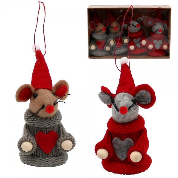 4er Set Textil Weihnachtsmäuse mit Anhänger (Strickware), grau/rot 2-fach sort. 5 x 5 x 9,5 cm im Set