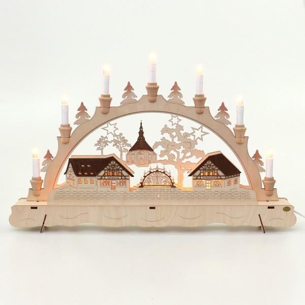 Holz Schwibbogen Seiffener Handwerk 62 x 7 x 39 cm 230 V Kabel, 10 flammig