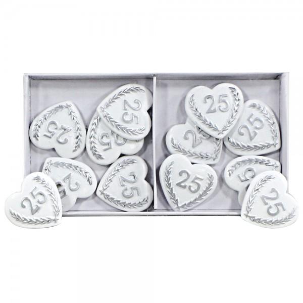 12er Set Polyresin Herzen-Aufleger Silberhochzeit mit silberner 25 zur Deko, flach 2,8 x 3 x 0,5 cm