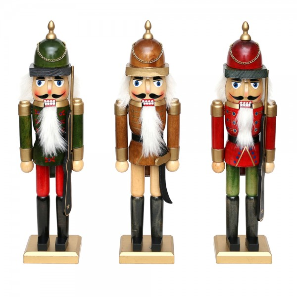 Holz Nussknacker, natur/farbig 3-fach sort. 11 x 8 x 40 cm im Set