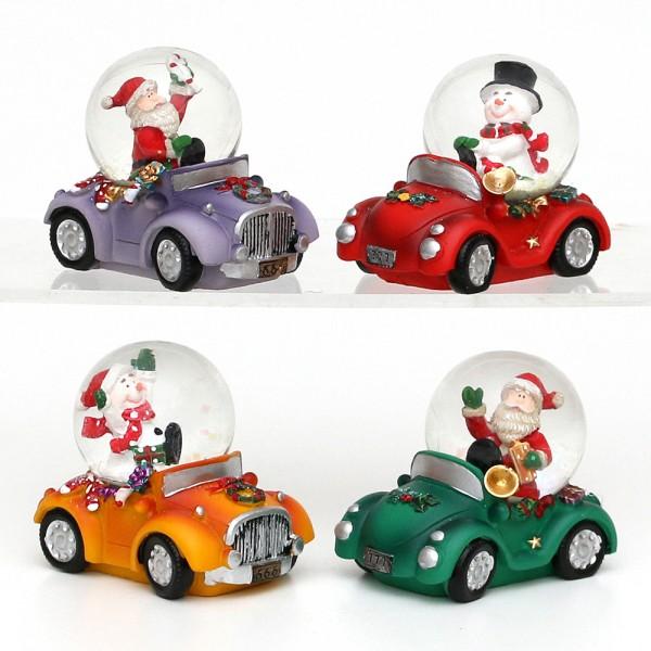 Polyresin Schneekugel Cars 4-fach sort. 8 x 5,5 x 6,5 cm Ø 4,5 cm im Set