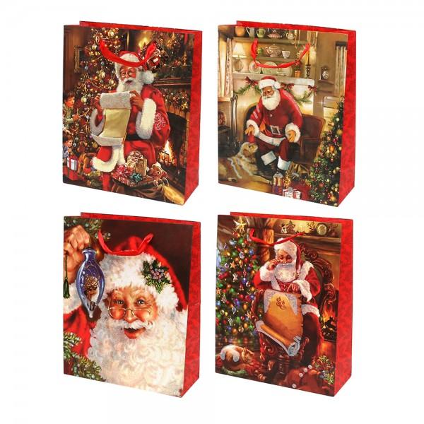 Papier Tragetasche Weihnachtsmann Motive mit Glitter 4-fach sort. 26 x 10 x 32 cm im Set