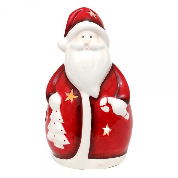 Dolomite Weihnachtsmann-Windlicht weiß/rot glasiert 9,5 x 8 x 16,5 cm