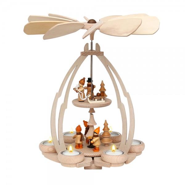 Holz Tischpyramide Winterfiguren mittel für 6 Teelichte 24 x 24 x 35 cm