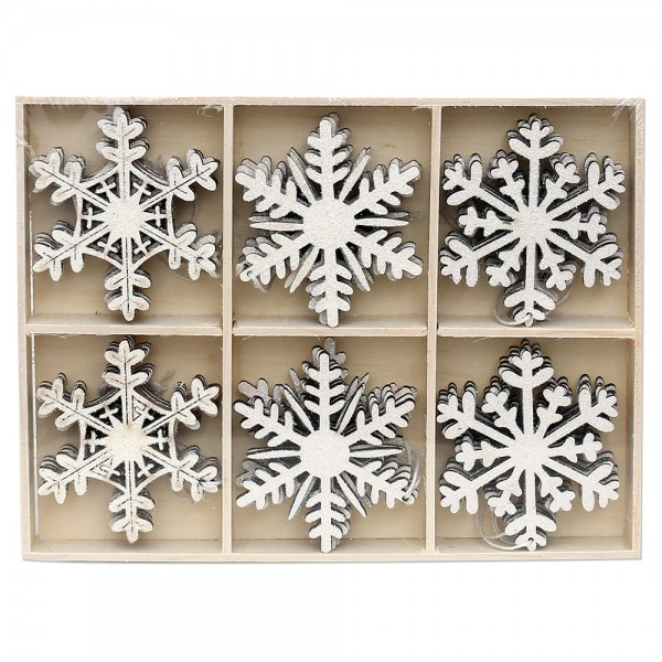 24er Set Holz Anhänger Schneeflocke verschneit (Laserholz) 3-fach sort. 6 x 6 cm im Set