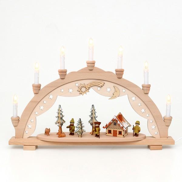 Holz Schwibbogen Moosma & Moosfra (Premiumholz) 57 x 9 x 38 cm 230 V Kabel, 7 flammig, SPK