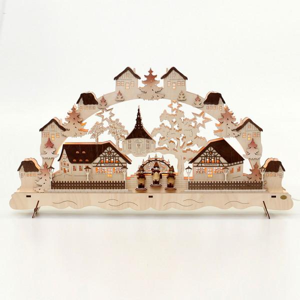 Holz Schwibbogen Seiffener Dorf mit 3 Kurrendefiguren, braun abgesetzt 74 x 7,5 x 40 cm 230 V Kabel, 11 flammig, SPK