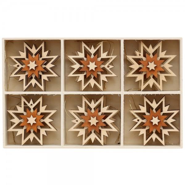 12er Set Holz Anhänger 3D-Stern 2-farbig, natur/braun (Laser) 6 x 6 cm