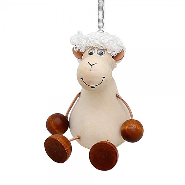 Holz Figur Schaf mit Sprungfeder 8 x 6 x 12 cm
