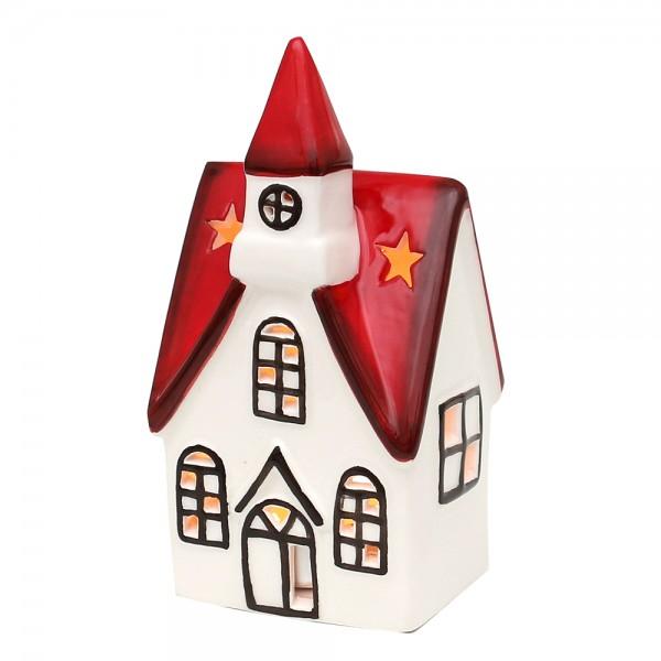 Dolomite Windlichthaus Kirche weiß/rot glasiert 7,5 x 6,4 x 14,8 cm