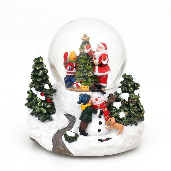 Polyresin Schneekugel Santa & Bär am Tannenbaum 13 x 13 x 13 cm Ø 8 cm Batteriebetrieb AAA, LED, Farbwechsel, Glitterwirbel, Sound
