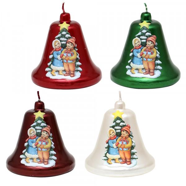 Glockenkerze Weihnachtsbaum mit Kindern metallic weinrot, rot, weiß, grün 4-fach sort. 8 x 8 x 8 cm im Set