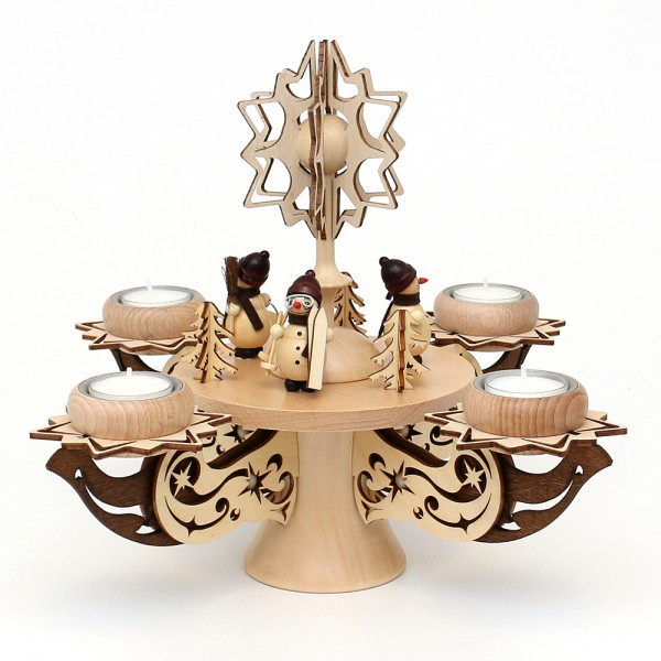 Holz Adventsleuchter mit Stern, Schneemänner, natur/braun, edel verziert, für 4 Teelichte 28 x 28 x 27 cm