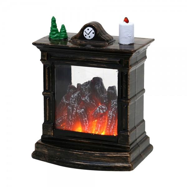 Kunststoff Kamin mit gemütlicher Feuersimulation, gold/braun 8,5 x 6,5 x 11,5 cm LED