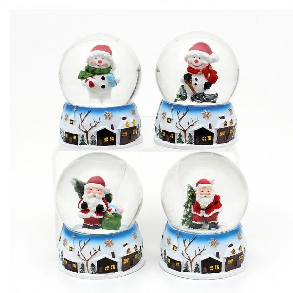 Polyresin Schneekugel Weihnachtsmann und Schneemann mit Stadtmotiv auf Sockel 4-fach sort. 6,5 x 6,5 x 9 cm Ø 6,5 cm im Set