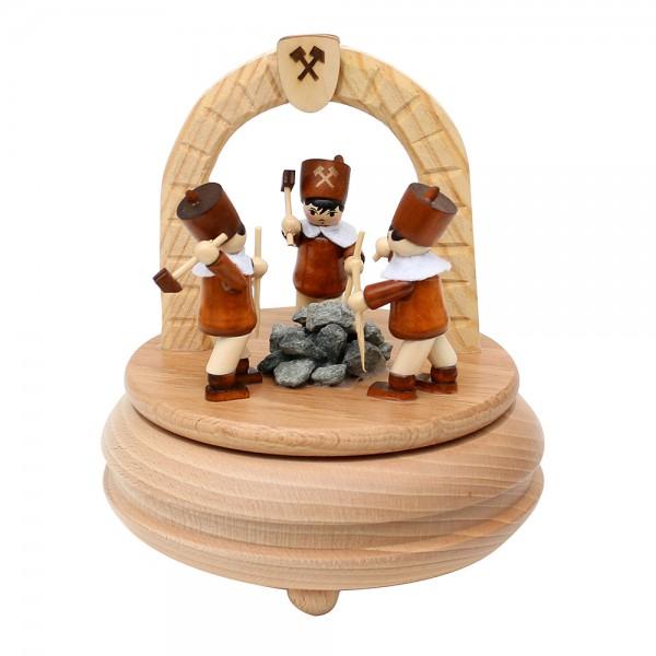 Holz Spieldose Steiger am Stolleneingang gedrechselt 13 x 13 x 16 cm Spielwerk Oh du Fröhliche
