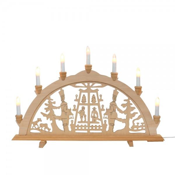 Holz Schwibbogen Pyramide 58 x 4 x 38 cm 230 V Kabel, 7 flammig, SPK