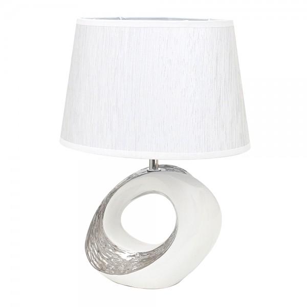 Keramik Tischlampe Elegance oval mit Loch, weiß/silber 19,5 x 8 x 38 cm 230 V Kabel, E27