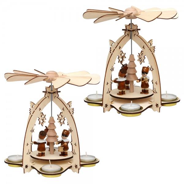 Holz Teelichtpyramide mit Bergmannsfiguren (Laserholz) für 4 Teelichte 2-fach sort. 18 x 18 x 21 cm im Set