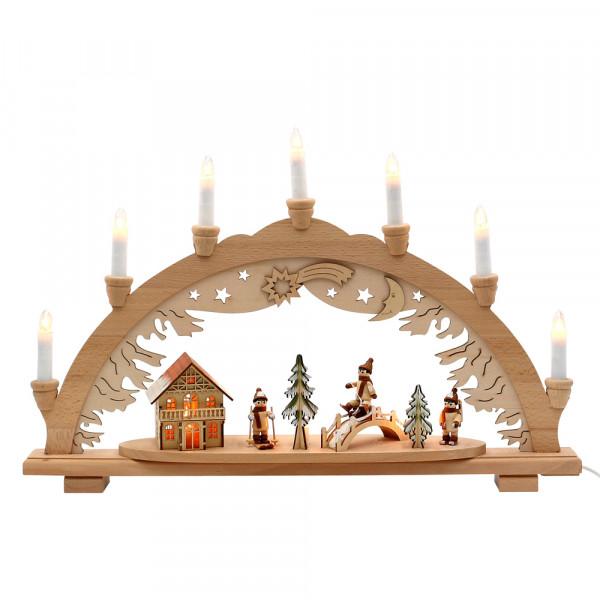 Holz Schwibbogen Winterspaß innen beleuchtet (Premiumholz) 57 x 9 x 38 cm 230 V Kabel, 10 flammig, SPK