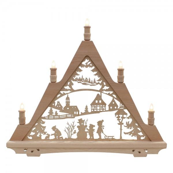 Holz Leuchterturm Winterfiguren Made in Germany (mit Laserfuß) 57 x 6 x 49 cm 230 V Kabel, 5 flammig, SPK